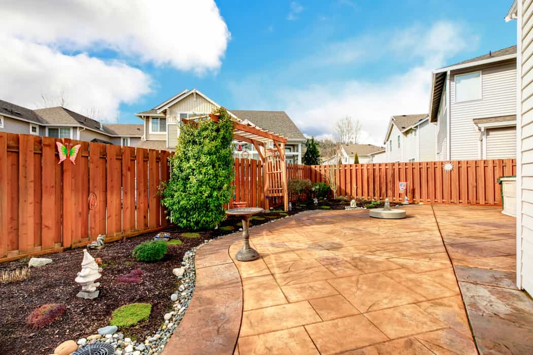 landscaping design and stamped patio